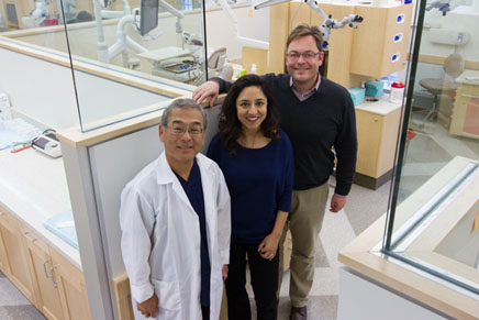 Dr. Syngcuk Kim; Dr. Meetu Kohli, Clinical Assistant Professor of Endodontics; and Dr. Frank Setzer, Endodontic Clinic Director.