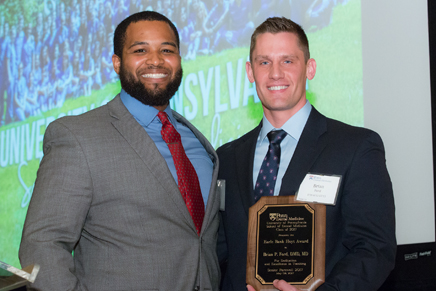 Dr. Brian Ford, recipient of the Earle Bank Hoyt Award, presented for excellence in teaching to a faculty member who is a Penn Dental Medicine graduate.