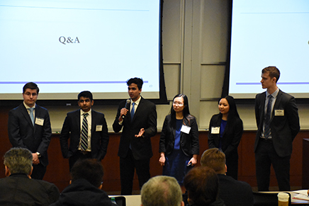 The Verduro Therapeutics team making their LSM capstone presentation. (photo credit: Jeremy Wheatley, LSM)