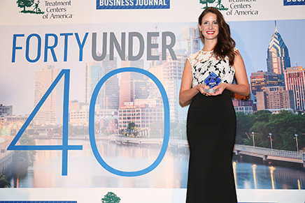 Dr. Eva Anadioti at the Philadelphia Business Journal 40 Under 40 Awards presentation