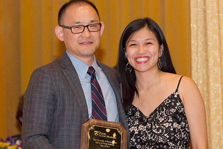 Dr. Steven Wang (D'09, M'12, GD'15), Instructor in the Department of Oral & Maxillofacial Surgery/Pharmacology, and student presenter; Dr. Wang received the Earle Bank Hoyt Award for excellence in teaching by an alumnus who is a full-time faculty member.