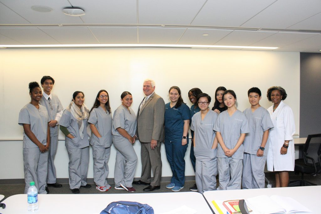 The Summer Mentorship Program participants with Dean Mark Wolff (center) and Dr. Beverley Crawford (far right), Director of Diversity and Inclusion, whose office oversees the SMP at Penn Dental Medicine