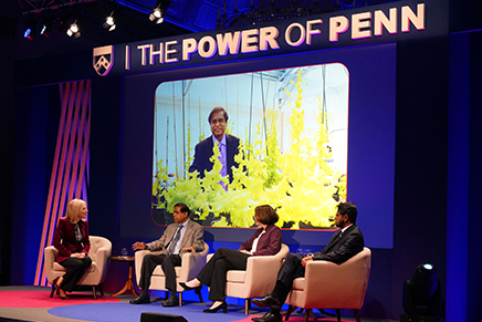 The Knowledge for Good panel at the London Power of Penn Kickoff.