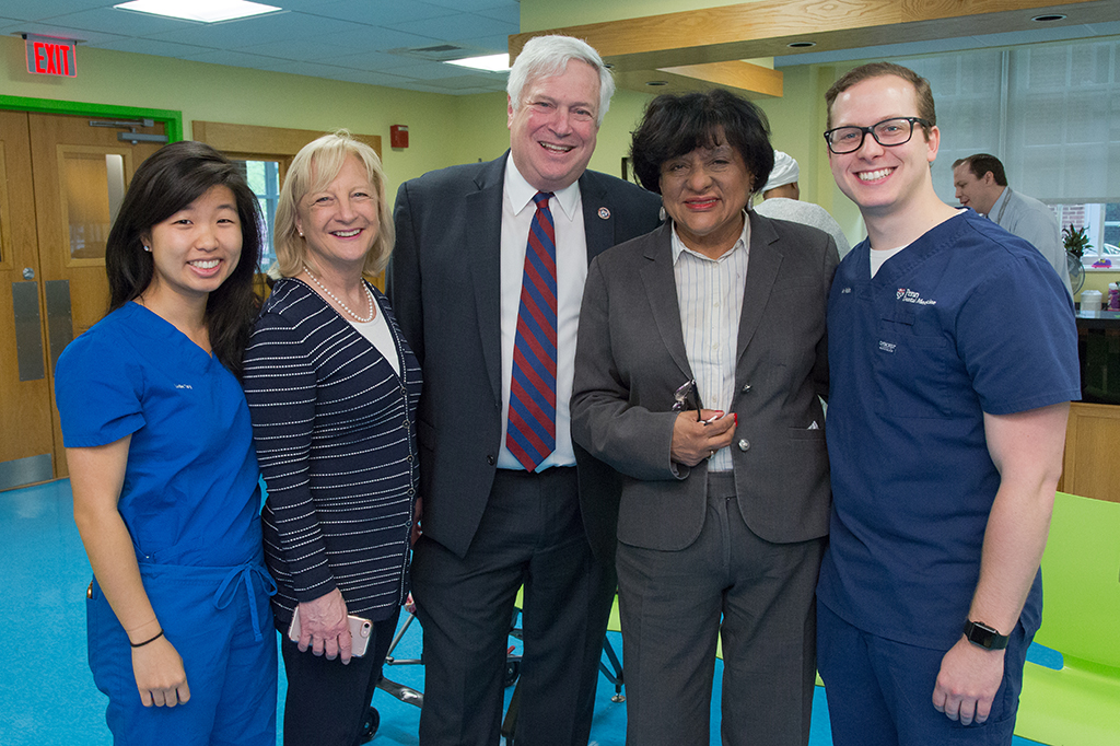 Students with Dr. Joan Gluch, Chief of the Division of Community Oral Health, Dean Mark Wolff, and Councilwoman Jannie Blackwell.