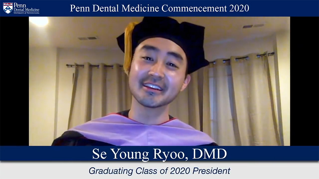 Screen shot from virtual ceremony of Class of 2020 President.