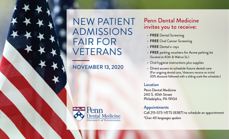 Penn Dental Medicine Offering Free Oral Screenings for Veterans on November 13