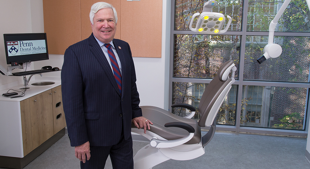 Dr. Mark Wolff, Morton Amsterdam Dean of Penn Dental Medicine,  in one of the six private operatories.