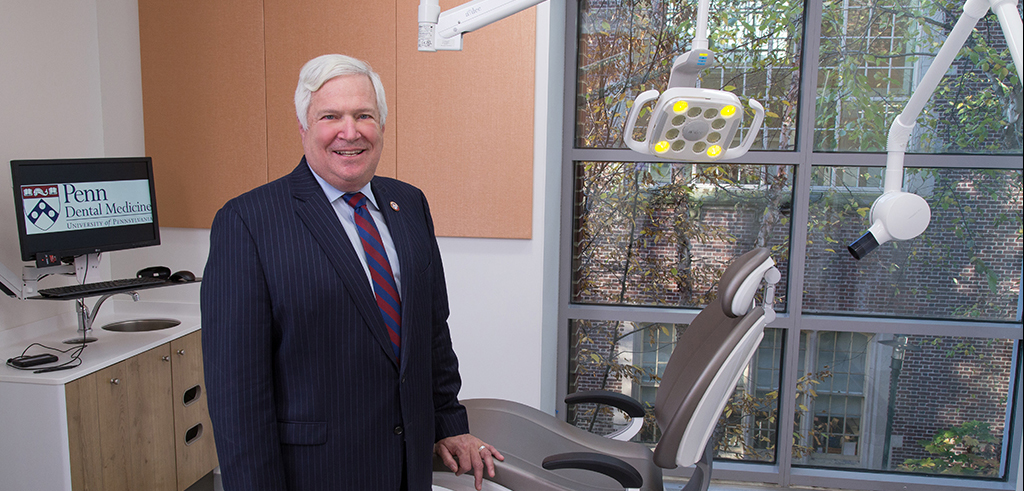 Dean Mark S. Wolff in one of the operatories within the Personalized Care Suite of the new Care Center for Persons with Disabilities.